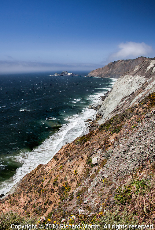 A view of the Pacific ocean and rugged coast from one spot along the Devil's Slide Coastal Trail.