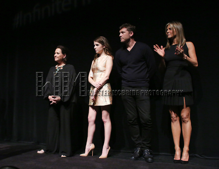 Adriana Barraza, Anna Kendrick, Sam Worthington and Jennifer Aniston attends the Presentation for 'Cake' at the Elgin Theatre during the 2014 Toronto International Film Festival on September 8, 2014 in Toronto, Canada.