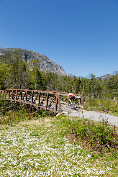 Franconia Notch State Park - Cyclists along the Franconia Bike Path with Cannon Mountain in the background during the spring months in Lincoln, New Hampshire USA.