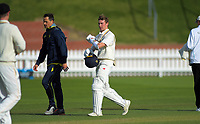Otago's Camden Hawkins retires on 8 during day two of the Plunket Shield cricket match between the Wellington Firebirds and Otago Volts at the Basin Reserve in Wellington, New Zealand on Tuesday, 22 October 2019. Photo: Dave Lintott / lintottphoto.co.nz