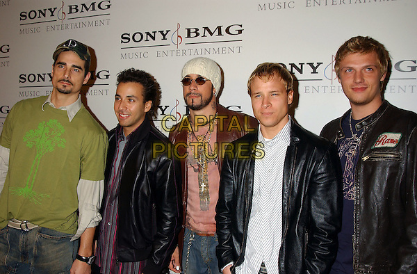 BACKSTREET BOYS - NICK CARTER, AJ McLEAN, KEVIN RICHARDSON.Sony BMG Grammy Party 2005 held at the Roosevelt Hotel, Los Angeles, California.February 13th, 2005.Photo Credit: Laura Farr/AdMedia.half length black leather jackets hat sunglasses shades hat.www.capitalpictures.com.sales@capitalpictures.com.© Capital Pictures.