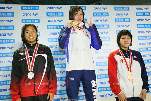 (L to R) <br /> Misaki Sekiguchi, <br /> Natsuho Shimoyama, <br /> Ai Nakano, <br /> MARCH 29, 2015 - Swimming : <br /> The 37th JOC Junior Olympic Cup <br /> Women's 200m Breaststroke <br /> champion ship award ceremony <br /> at Tatsumi International Swimming Pool, Tokyo, Japan. <br /> (Photo by YUTAKA/AFLO SPORT)