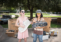 Occidental College's campus­wide e-waste collection, with Ellie Amann '19 and Oxy Sustainability Coordinator Jenny Low, in the Academic Quad on Aug. 3, 2017.<br /> (Photo by Marc Campos, Occidental College Photographer)