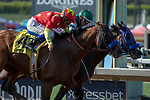 ARCADIA, CA  JUNE 23: #4 American Anthem, ridden by Mike Smith, edges out #2 St. Joe Bay, ridden by Tyler Baze, battle to win the San Carlos Stakes on June 23, 2018, at Santa Anita Park in Arcadia, CA.   (Photo by Casey Phillips/Eclipse Sportswire/Getty Images)