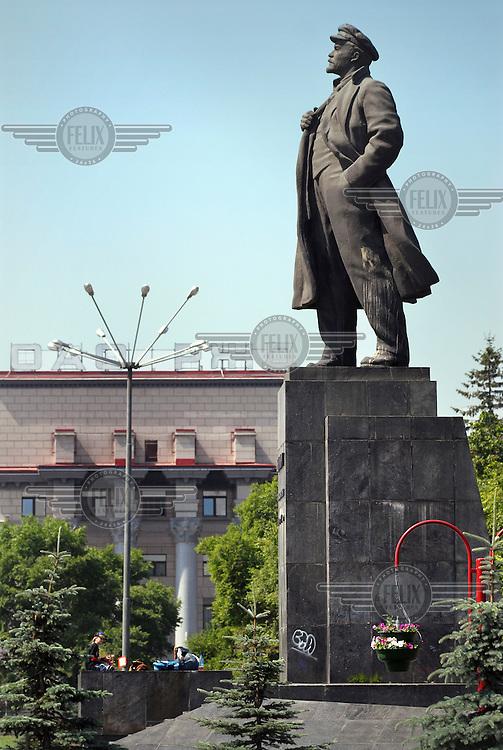 A statue of Lenin in the centre of the city of Krasnoyarsk.