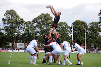 Schalk Burger of Saracens wins the ball at a lineout. Pre-season friendly match, between Bedford Blues and Saracens on August 19, 2017 at Goldington Road in Bedford, England. Photo by: Patrick Khachfe / Onside Images