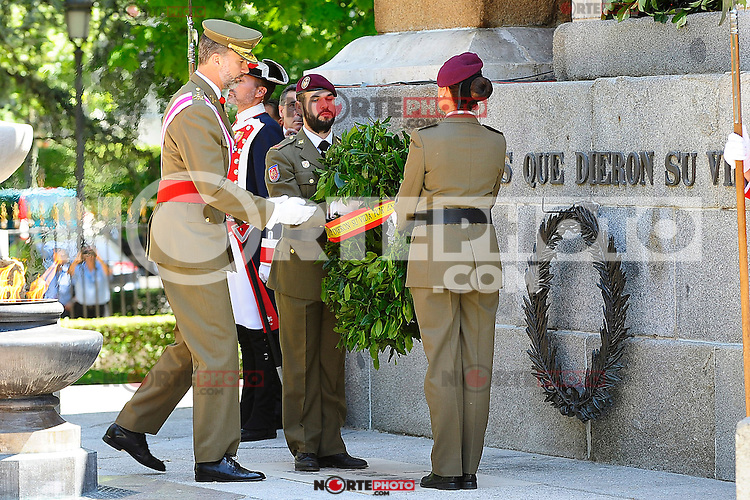 King Felipe VI of Spain attends the 2015 Armed Forces Day Ceremony at the Plaza de la Lealtad. June 6,2015. (ALTERPHOTOS/Pool/Rogelio Pinate)