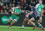 Connacht centre Bundee Aki cuts inside Ospreys pair Josh Matavesi and Sam Davies.<br /> Guiness Pro12<br /> Ospreys v Connacht<br /> Liberty Stadium<br /> 31.10.14<br /> &copy;Steve Pope-SPORTINGWALES