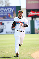 Forrestt Allday (36) of the Inland Empire 66ers returns to the dugout during a game against the Rancho Cucamonga Quakes at San Manuel Stadium on April 27, 2016 in San Bernardino, California. Rancho Cucamonga defeated Inland Empire, 2-1. (Larry Goren/Four Seam Images)