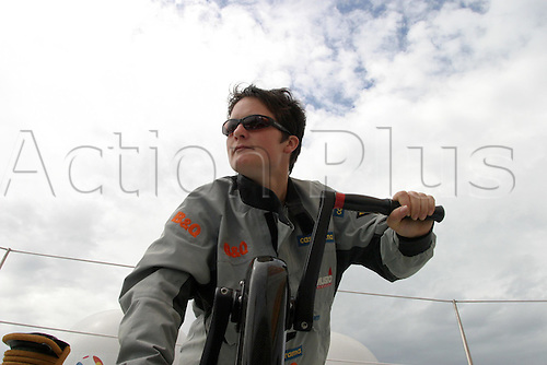 Ellen MacArthur on board her 75ft trimaran B&Q - 11/08/04..Training on the Solent prior to her fastest non-stop round the world record attempt....