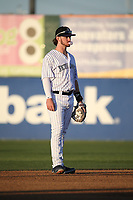 Brendan Rogers (1) of the Lancaster JetHawks in the field at shortstop during a game against the Rancho Cucamonga Quakes at The Hanger on April 28, 2017 in Lancaster, California. Lancaster defeated Rancho Cucamonga, 16-10. (Larry Goren/Four Seam Images)