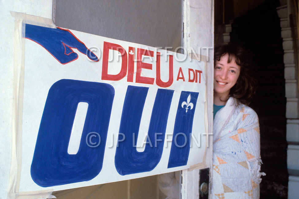 Quebec, Canada, 1980. On May 20 1980, called by the Parti Quebequois (PQ) government, the first referendum on whether Quebec should pursue a path toward sovereignty took place. The OUI (yes) party was defeated by a 59.56 percent to 40.44 percent margin for the NO party. - Signs from the OUI party political campaign.