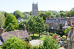 View of historic buildings and church at Bruton, Somerset, England, UK