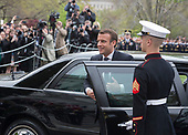 President Emmanuel Macron of France arrives for a state visit to The White House in Washington, DC, April 24, 2018. Credit: Chris Kleponis / Pool via CNP