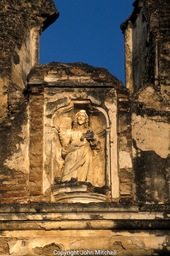 Facade detail of the Santa Clara Church and Convent in the Spanish Colonial city of Antigua, Guatemala