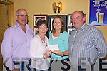 Ann Rothery(3rd right) Principal of Dromtrasna N.S. receiving a cheque for EUR1665 from the Abbeyfeale Horse & Pony Racing Committee last Friday night in Donal and Ann's Bar Abbeyfeale as part of their fundraising event held in Kilcara last June. Also pictured l-r:Pat Leahy(treasurer) Margaret Leahy(secretary) and Vincent O'Connor(Chairperson)...Vincent O'Connor Chairperson: Abbeyfeale Horse & Pony Racing Committee: