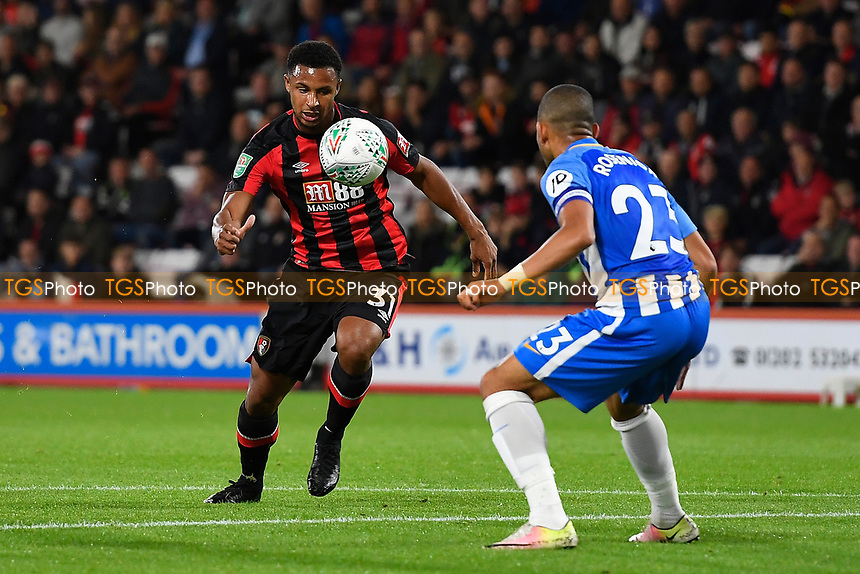Lys Mousset of AFC Bournemouth takes on Liam Rosenior of Brighton and Hove Albionduring AFC Bournemouth vs Brighton & Hove Albion, Caraboa Cup Football at the Vitality Stadium on 19th September 2017