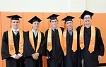Terryville, CT- 21 June  2017-062117CM07-  Terryville High School graduates from left, Taylor Dennis, Brian Leite, Aaron Lance, Robie LaMarre, Jared Aldi stand of a photo  during commencement exercises in Terryville on Wednesday.  Christopher Massa Republican-American
