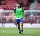 30th September 2017, Vitality Stadium, Bournemouth, England; EPL Premier League football, Bournemouth versus Leicester; Shinji Okazaki of Leicester warms up before kick off