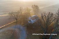 63895-16717 Pleasant Grove Methodist Church at sunrise in fog-aerial-Marion Co. IL