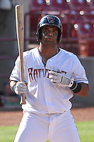 Wisconsin Timber Rattlers third baseman Sthervin Matos (9) at bat during a Midwest League game against the Quad Cities River Bandits on July 17th, 2015 at Fox Cities Stadium in Appleton, Wisconsin. Quad Cities defeated Wisconsin 4-2. (Brad Krause/Four Seam Images)