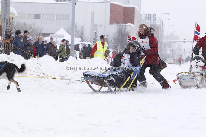 Sigrid Ekran Saturday, March 3, 2012  Ceremonial Start of Iditarod 2012 in Anchorage, Alaska.