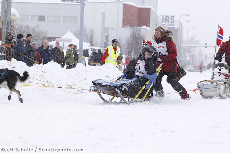 Sigrid Ekran Saturday, March 3, 2012  Ceremonial Start of Iditarod 2012 in Anchorage, Alaska.