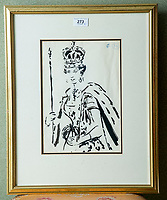 BNPS.co.uk (01202 558833)<br /> Pic: PhilYeomans/BNPS<br /> <br /> Cecil Beaton sketch of Queen Elizabeth on her Coronation.<br /> <br /> A remarkable 'time warp' Royal archive amassed by the Queen's dressmaker has been found inside his old country home.<br /> <br /> The late Ian Thomas was a dress designer for members of the Royal Family, including Her Majesty, for over 30 years.<br /> <br /> As an apprentice he worked alongside the renowned fashion designer Norman Hartnell on creating the Queen's coronation dress in 1953.<br /> <br /> His archive includes embroidered samples of the gown worn by Elizabeth II for the historic ceremony in Westminster Abbey that was broadcast to millions.<br /> <br /> Mr Thomas also designed outfits for the Queen Mother and Princess Margaret.