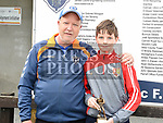 Ardee Celtic's U-13 player of the year Damien McKeever with coach Tony Dowdall. Photo:Colin Bell/pressphotos.ie