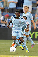 Peterson Joseph (19) midfield Sporting KC in action..Sporting Kansas City were defeated 3-0 by Montpellier HSC in an international friendly at LIVESTRONG Sporting Park, Kansas City, KS..