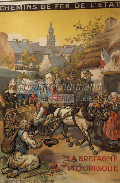 Europe/France/Bretagne/29/Finistère/Quimper : Musée départemental, affiche de chemin de fer en 1900