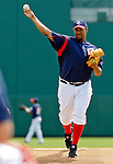 14 March 2006: Livan Hernandez, pitcher for the Washington Nationals, takes some warm-up pitches prior to the start of a Spring Training game against the Florida Marlins. The Marlins defeated the Nationals 2-1 at Space Coast Stadium, in Viera, Florida...Mandatory Photo Credit: Ed Wolfstein..