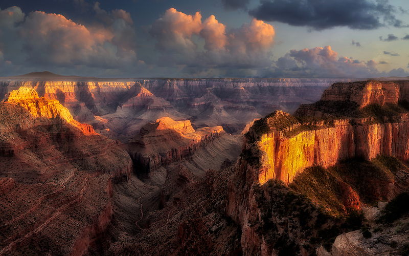 View at sunset from Point Royal showing Wotons Throne. Grand Canyon National Park, Arizona
