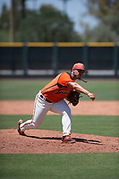 San Francisco Giants Orange relief pitcher Jesus Tona (1) follows through on his delivery during an Extended Spring Training game against the Seattle Mariners at the San Francisco Giants Training Complex on May 28, 2018 in Scottsdale, Arizona. (Zachary Lucy/Four Seam Images)