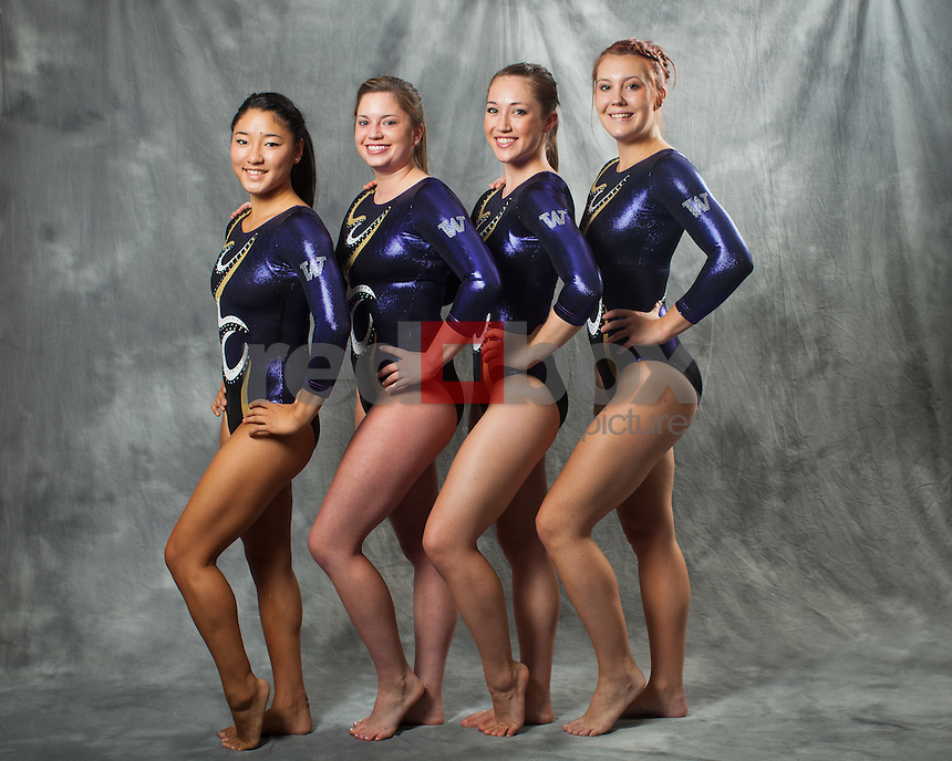 Hatsune Akaogi, Anna Epps, Ruby Engreitz, Amanda Cline..---------2011-2012 University of Washington Gymnastics team photographed on Thursday, September 22, 2011. (Photo by Dan DeLong/Red Box Pictures)