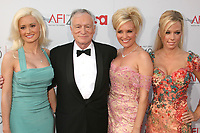 "27 September 2017 - Hugh Marston Hefner aka ""Hef"" was an American magazine publisher, editor, businessman, and international playboy best known as the editor-in-chief and publisher of Playboy magazine, which he founded in 1953. Hefner was the founder and chief creative officer of Playboy Enterprises, the publishing group that operates the magazine. Hefner was also a political activist and philanthropist. File Photo: 7 June 2007 - Hollywood, California - Holly Madison, Hugh Hefner, Bridget Marquardt and Kendra Wilkinson. 35th Annual AFI Life Achievement Award Honoring Al Pacino at the Kodak Theatre. Photo Credit: Byron Purvis/AdMedia"
