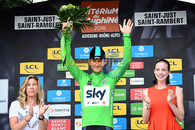 Race leader Michal Kwiatkwoski (POL) also retains the Maillot Vert on the podium at the end of Stage 1 of the 2018 Criterium du Dauphine 2018 running 179km from Valence to Saint-Just-Saint-Rambert, France. 4th June 2018.<br /> Picture: ASO/Alex Broadway | Cyclefile<br /> <br /> <br /> All photos usage must carry mandatory copyright credit (© Cyclefile | ASO/Alex Broadway)