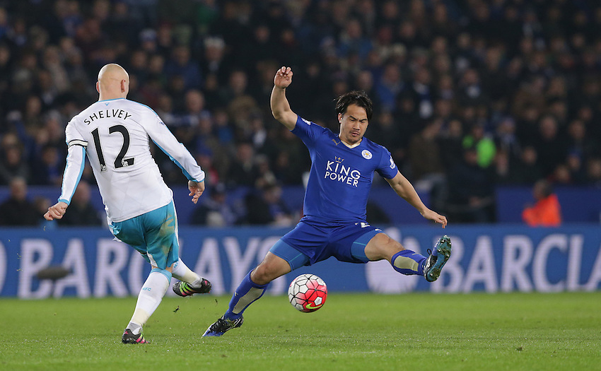 Leicester City's Shinji Okazaki blocks a clearance from Newcastle United's Jonjo Shelvey<br /> <br /> Photographer Rachel Holborn/CameraSport<br /> <br /> Football - Barclays Premiership - Leicester City v Newcastle United - Monday 14th March 2016 - King Power Stadium - Leicester<br /> <br /> &copy; CameraSport - 43 Linden Ave. Countesthorpe. Leicester. England. LE8 5PG - Tel: +44 (0) 116 277 4147 - admin@camerasport.com - www.camerasport.com