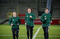 20161128 - TUBIZE ,  BELGIUM : Dutch referee Vivian Peeters (M) with assistant referees Nicolette Bakker (R) and Fijke Hoogendijk (L)   pictured during the female soccer game between the Belgian Red Flames and Denmark , a friendly game before the European Championship in The Netherlands 2017  , Monday 28 th November 2016 at Stade Leburton in Tubize , Belgium. PHOTO SPORTPIX.BE | DIRK VUYLSTEKE