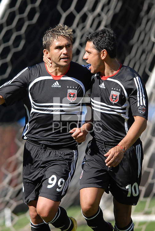 DC United forward Jaime Moreno celebrates with teammate Christian Gomez (10) after scoring the second goal of the game from a penalty kick in the 65th minute. DC United defeated Chivas USA 2-1, at RFK Stadium in Washington DC, Sunday May 6, 2007.