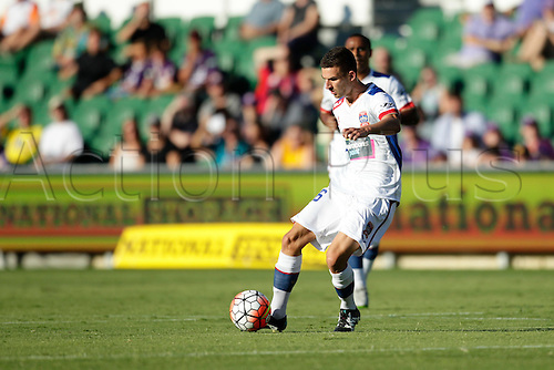 07.03.2016, Perth, Australia. Hyundai A-League, Perth Glory versus Newcastle Jets. Steven Ugarkovic controls the ball in the middle during the first half.