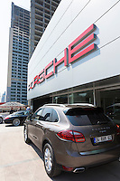 Luxury Porche showroom Dogus Oto Porsche (Otomotiv) at Dogus Center in Maslak financial business district, Istanbul, Turkey