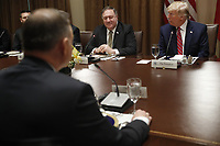 Polish President Andrzej Duda (L) US President Donald J. Trump (R) and US Secretary of State Mike Pompeo (C) during a luncheon in the cabinet room of the White House in Washington, DC, USA, 12 June 2019. Later in the day President Trump and President Duda will participate in a signing ceremony to increase military to military cooperation including the purchase of F-35 fighter jets and an increased US troop presence in Poland. Credit: Shawn Thew/CNP/AdMedia