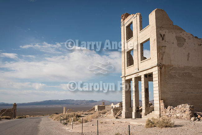Ghost town of Rhyolite, Nevada<br /> <br /> Windows and doors, John S. Cook bank building ruins