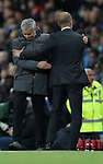 Manchester City Manager Pep Guardiola and Jose Mourinho manager of Manchester United after the English Premier League match at The Etihad Stadium, Manchester. Picture date: April 27th, 2016. Photo credit should read: Lynne Cameron/Sportimage