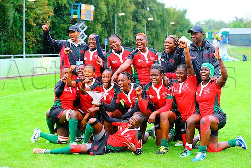 23.08.2015. Dublin, Ireland. Women's Sevens Series Qualifier 2015. Kenya versus Colombia<br /> Kenya celebrate winning the bowl.