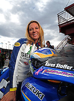 Oct. 31, 2008; Las Vegas, NV, USA: NHRA pro stock motorcycle rider Karen Stoffer during qualifying for the Las Vegas Nationals at The Strip in Las Vegas. Mandatory Credit: Mark J. Rebilas-