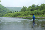 Fly fishing for Atlantic Salmon, Southwest River, Newfoundland
