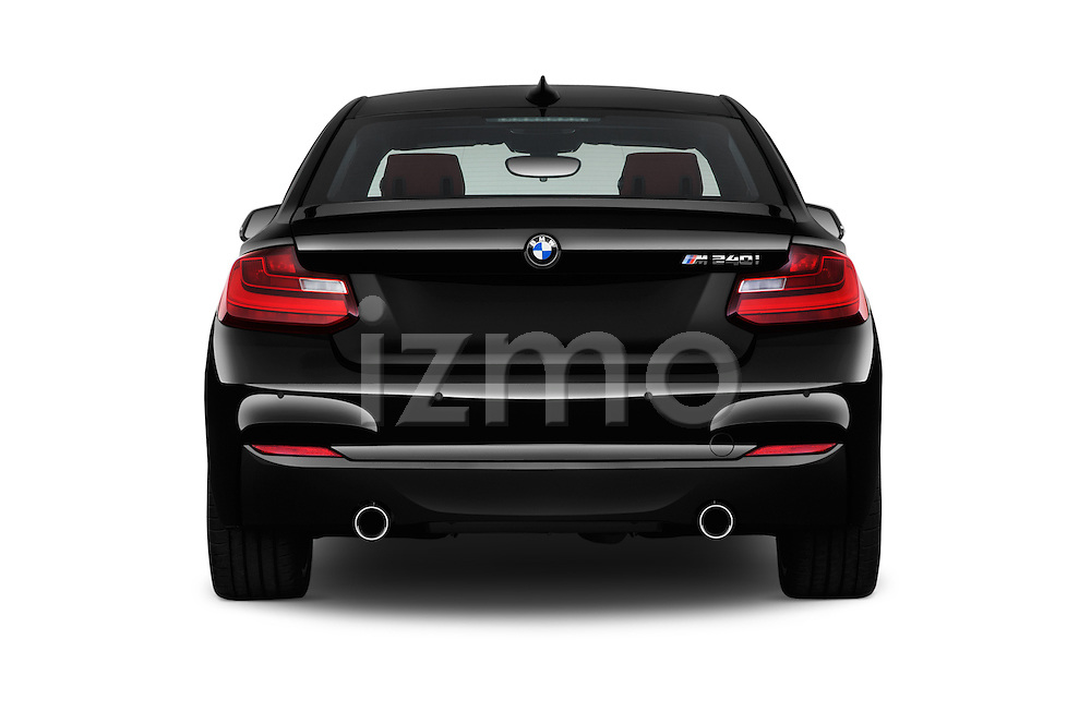 Straight rear view of 2017 BMW 2-Series M240i 2 Door Coupe Rear View  stock images