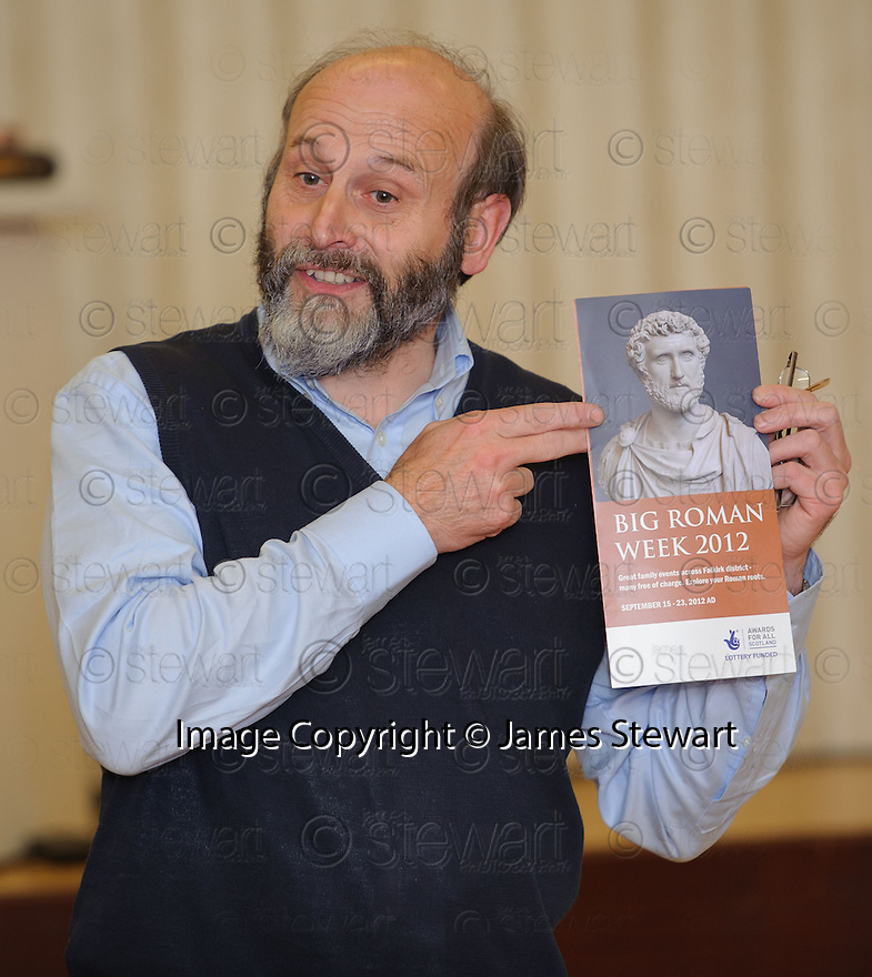 Falkirk Council Archaeologist Geoff Bailey gives a talk about the Roman Fort at Mumrills Farm at Polmont Old Parish Church Hall ....